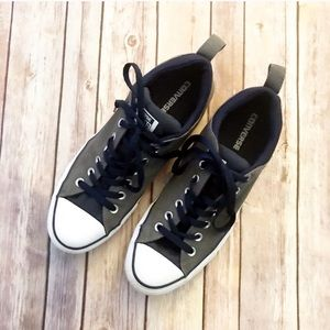 Gray and Navy Blue Converse women's 12 Men's 10